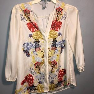 H&M silky floral button down flowy top